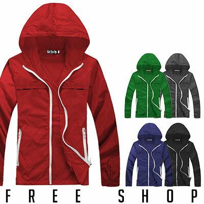 Free Shop【AMD81066】日韓潮流街頭騎士百搭素色素面防風連帽風衣外套‧五色 情侶款