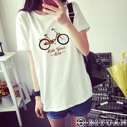 Bike腳踏車圓領短袖T恤【FG0003】OBIYUAN 韓版短袖上衣 共1色 (女裝)