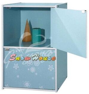 ╭☆雪之屋居家生活館☆╯R553-040506彩色二格二門組合櫃書櫃書架置物櫃雜物櫃DIY自組