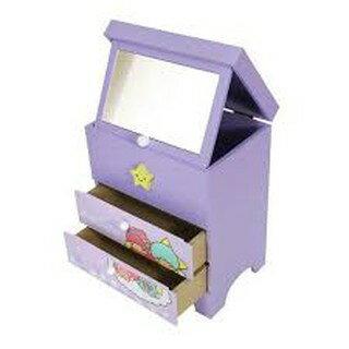 大賀屋 雙子星 飾品盒 附 化妝鏡 收納盒 收納櫃 三抽屜 三麗鷗 KIKI LALA   T0001 156