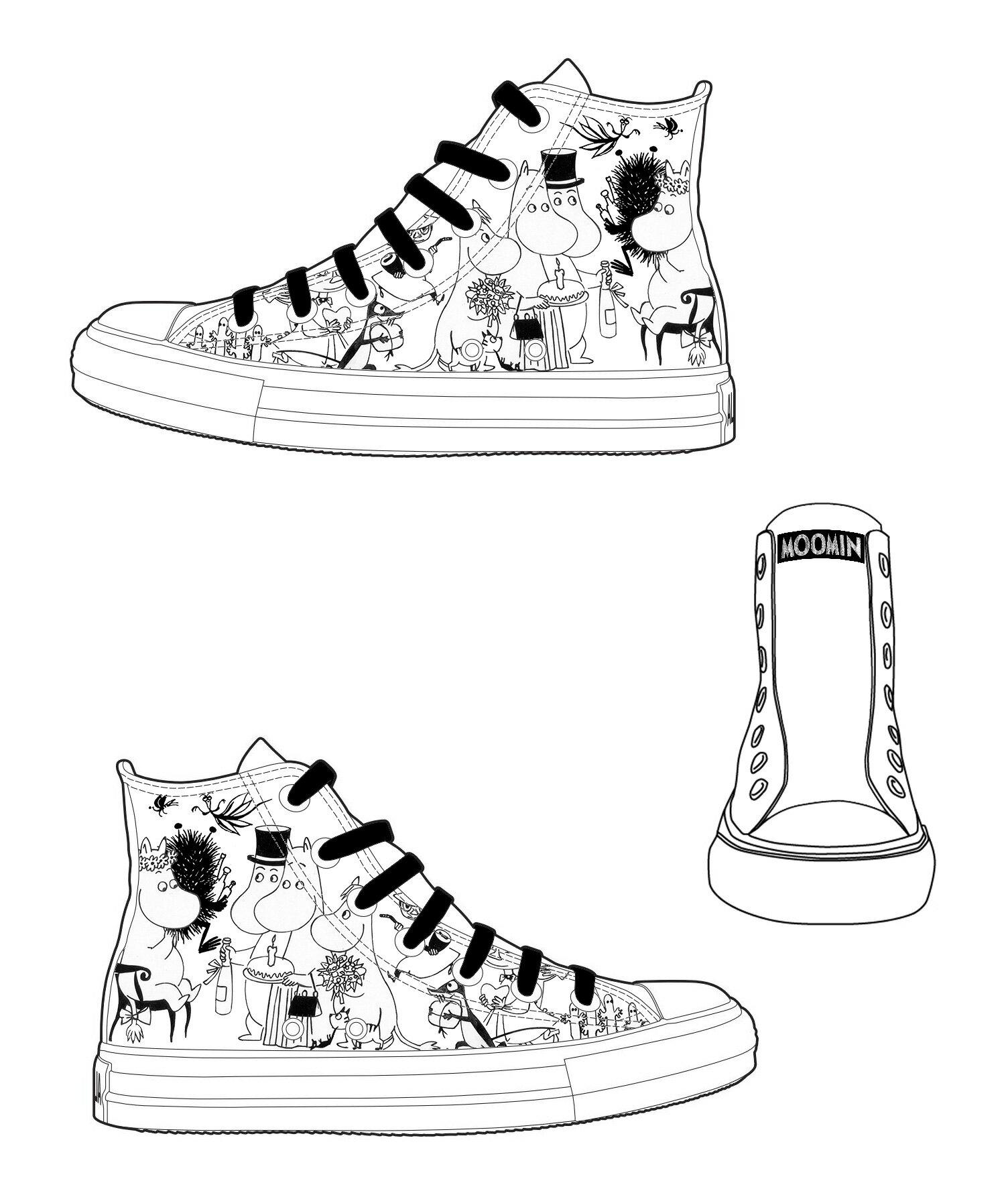 【Moomin】AE07 (白鞋黑帶) - 帆布鞋 (男/女)
