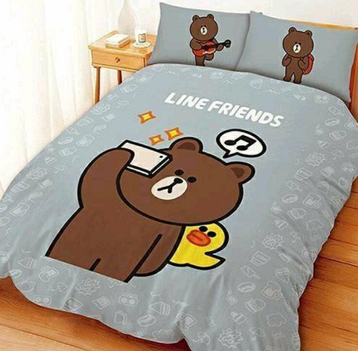 【嫁妝寢具】熊大愛自拍*灰色*-雙人床包組【床包+枕套*2】 台灣製造