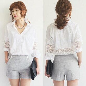 PS Mall 不規則襯衣鉤花蕾絲拼接寬鬆蝙蝠袖襯衫【T2524】