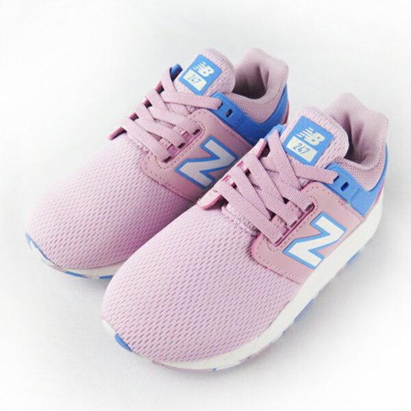 Shoestw【PH247KWW】NEW BALANCE NB247 中童鞋 運動鞋 鬆緊帶 免綁帶 襪套 Wide 網布 粉紅水藍 1