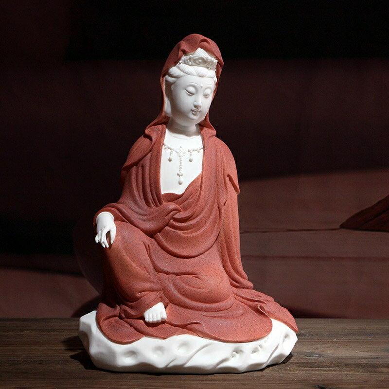 客廳桌面裝飾陶瓷觀音供奉擺件 鎮宅菩薩家用風水坐姿佛像