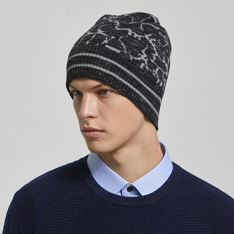 毛帽羊毛針織帽-護耳條紋提花捲邊男帽子2色73wj36【獨家進口】【米蘭精品】 1