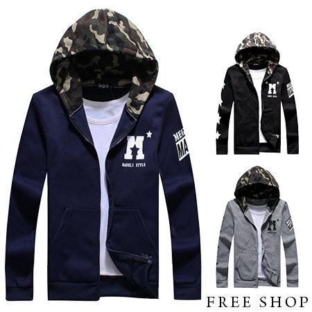 《全店399免運》Free Shop【QMD30085】 潮流風嚴選迷彩拼接星星袖保暖刷毛棉質連帽外套迷彩外套‧三色