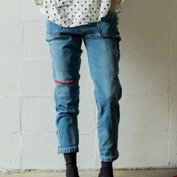 牛仔褲 毛線跳針縫水洗牛仔褲 日系 預購【88-17-8606-0010】ibella 艾貝拉