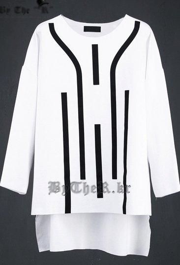 【JP.美日韓】高品質 進口 韓國 前短後長 歐美風格 上衣 黑 未來 幾何 設計 米蘭 ZNIF 亞森 PEACE