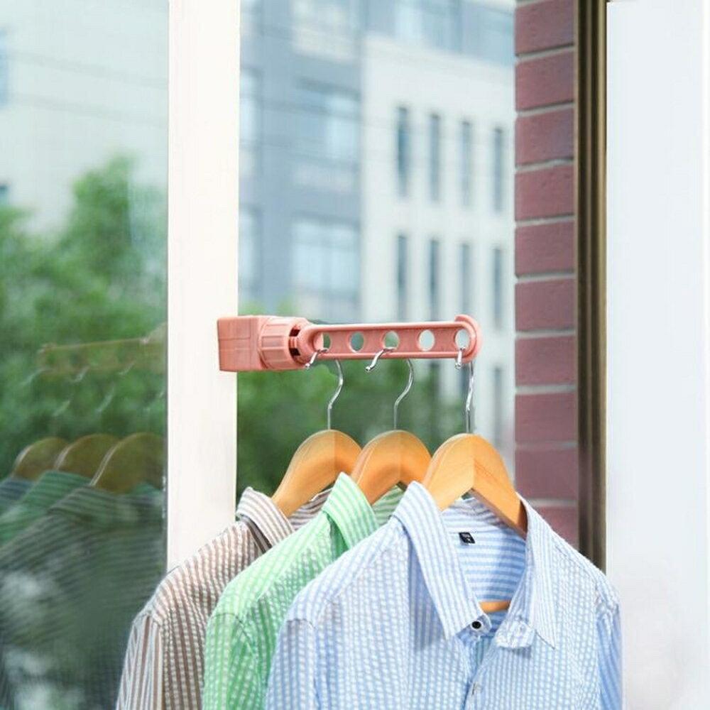 家用高層多功能陽臺窗外掛鉤晾衣架曬衣架室內外掛架免打孔桿旅行 名創家居館