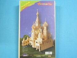 DIY木質拼圖 3D立體拼圖 模型屋(G-DH006俄羅斯城堡.大12片入)/一個入{定599}