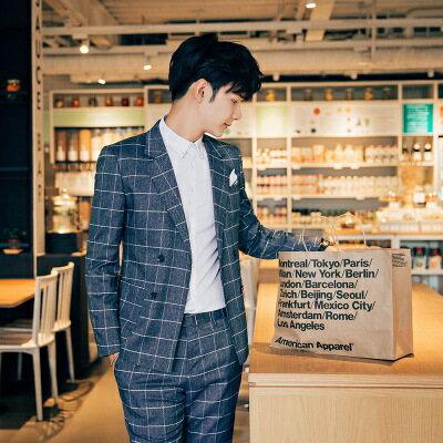 西裝外套西服套裝(二件套)-經典流行方格造型商務男裝2色73hc74【獨家進口】【米蘭精品】