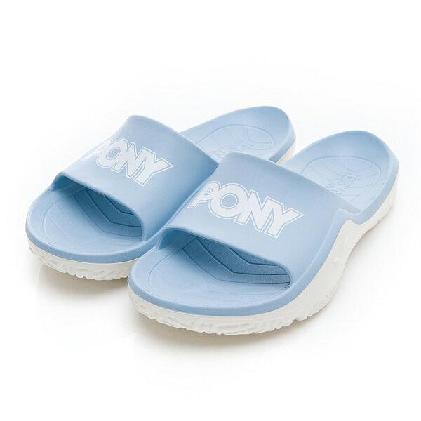 《超軟Q防水拖》Shoestw【92U1FL07PB】PONY PARK-X 防水拖鞋 海灘拖鞋 軟Q 拖鞋 水藍白 女生尺寸 0