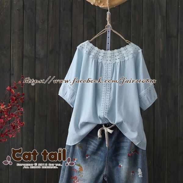《貓尾巴》TS-0910小清新娃娃領拼接短袖襯衫(森林系日系棉麻文青清新)