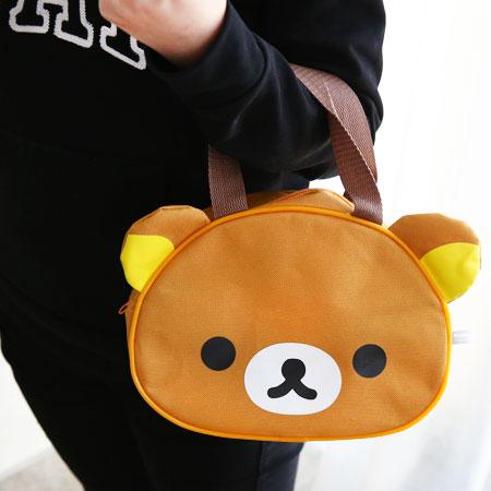正版 拉拉熊造型手提袋 便當袋 餐具袋 拉拉熊 懶懶熊 Rilakkuma 拉鍊式 收納袋 造型手提袋【N102780】