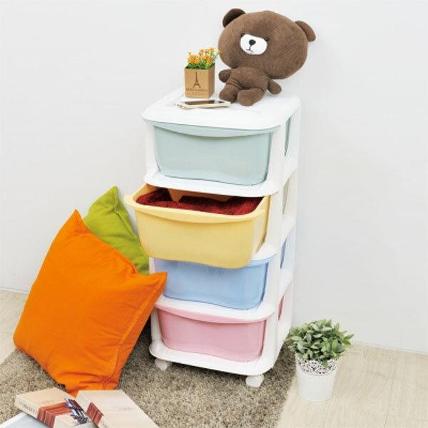 BO雜貨【YV9054】ikloo~馬卡龍四層收納抽屜車 玩具收納箱 DIY四層置物架 收納籃 置物籃 置物架 收納盒
