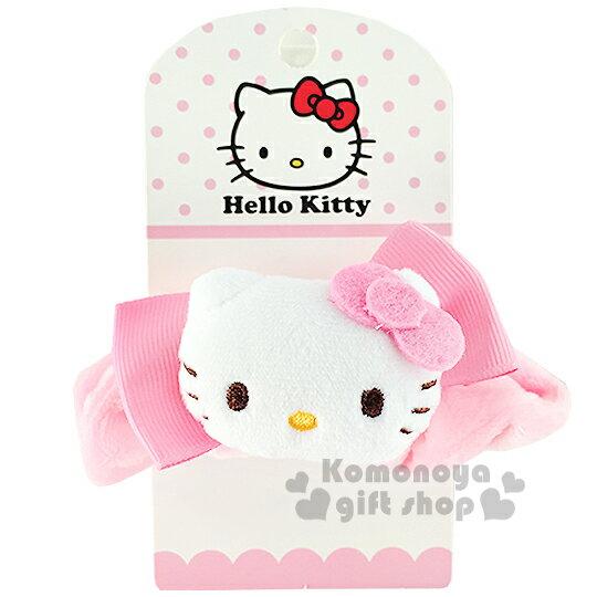 〔小禮堂〕Hello KItty 絨毛造型髮圈《粉.立體大臉蝴蝶結》也可當可愛手環