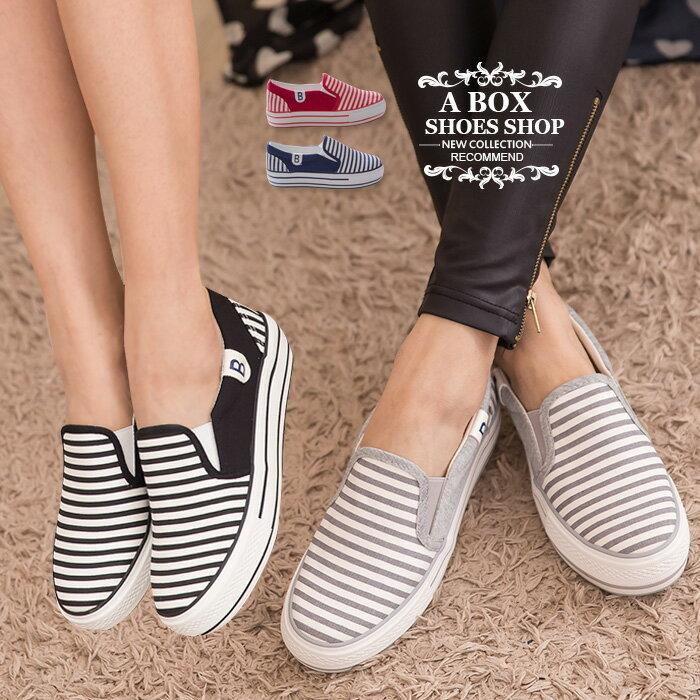 格子舖*【AA035】基本款百搭海軍風條紋 舒適3CM厚底增高帆布鞋 懶人鞋 4色