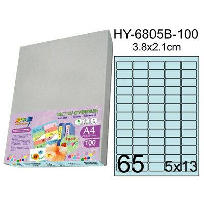 彩之舞 進口3合1彩色標籤-65格圓角(5色) 100張/包 HY-6805-100