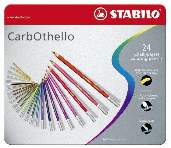 STABILO 德國天鵝牌 CarbOthello系列 4.4mm 水溶性粉彩筆 24色
