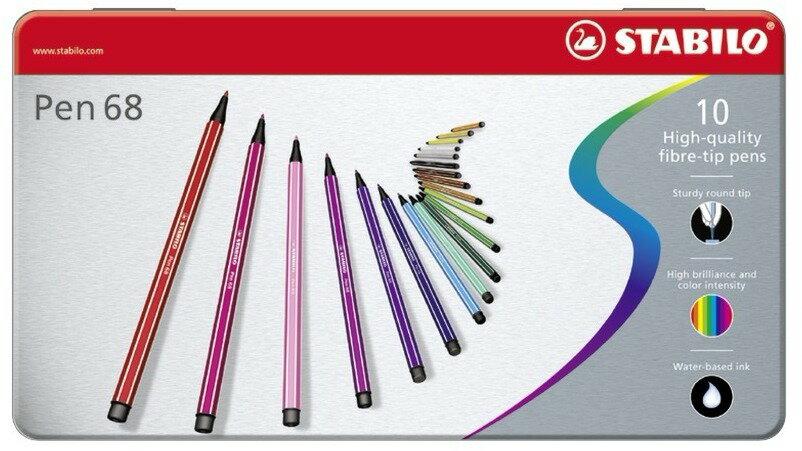 STABILO 德國天鵝牌 Pen 68系列 彩色筆 鐵盒裝 10色10支入^( :681