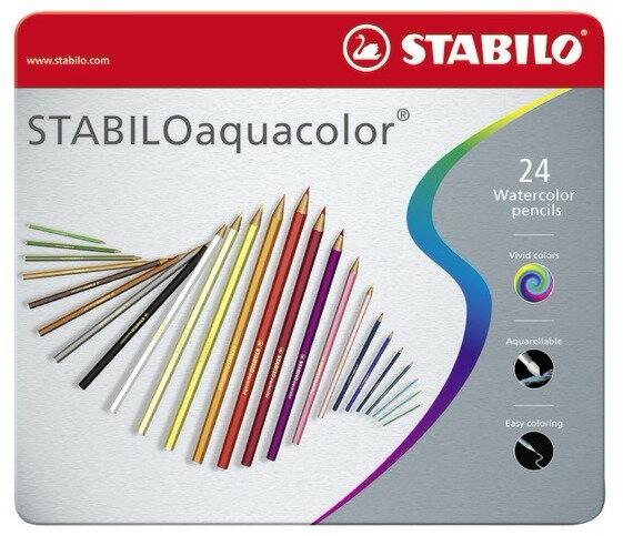 STABILO 德國天鵝牌 aquacolor系列 水溶性色鉛筆 24色24支裝 金屬鐵盒裝(型號:1624-5)