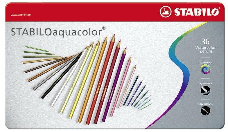 STABILO 德國天鵝牌 aquacolor系列 水溶性色鉛筆 36色36支裝 金屬鐵盒