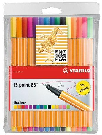 STABILO 德國天鵝牌 point 88 系列 簽字筆 15色組含螢光色 1盒15支入