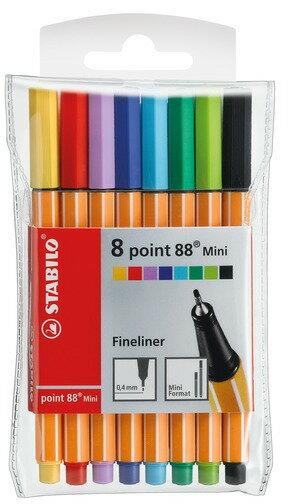 STABILO 德國天鵝牌 point 88 Mini 系列 迷你簽字筆 8色組 1盒8支