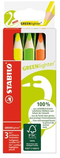 STABILO 德國天鵝牌 GREENlighter 環保 螢光色鉛筆 3色組^(貨號:6