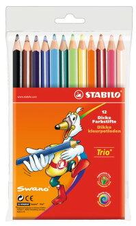STABILO 德國天鵝牌 Trio thick系列 三角筆身色鉛筆 膠盒裝 12色12支裝(型號:203/12-01)