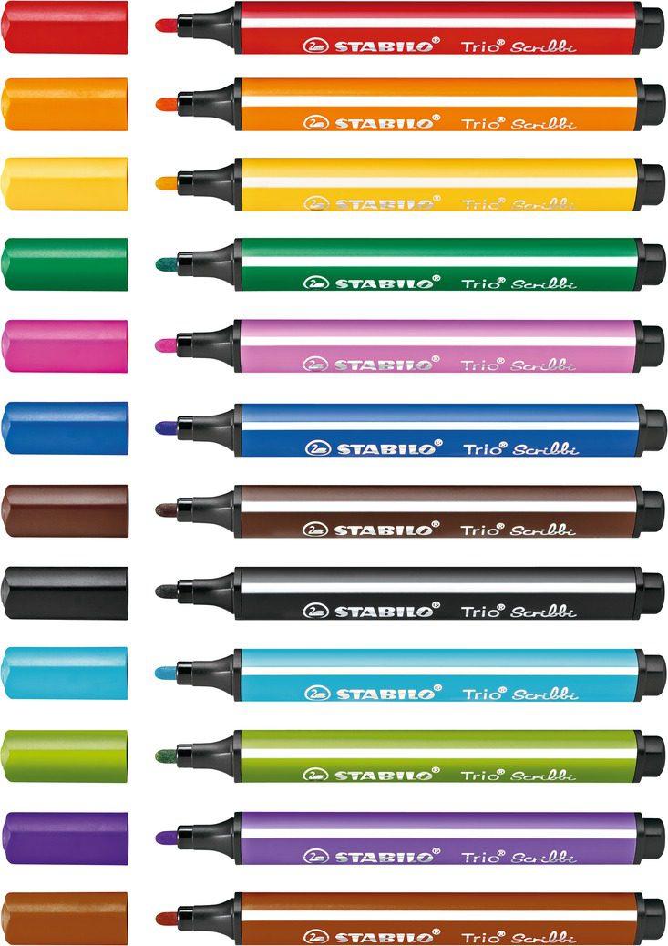 STABILO 德國天鵝牌 Trio Scribbi 三角筆身設計 彈性筆頭彩色筆(共12色可選)