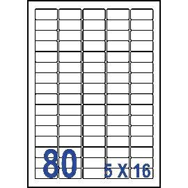 UNISTAR 裕德 白色電腦標籤 US4345【(5x16)80格圓角 20張/包】雷射/噴墨/影印三用