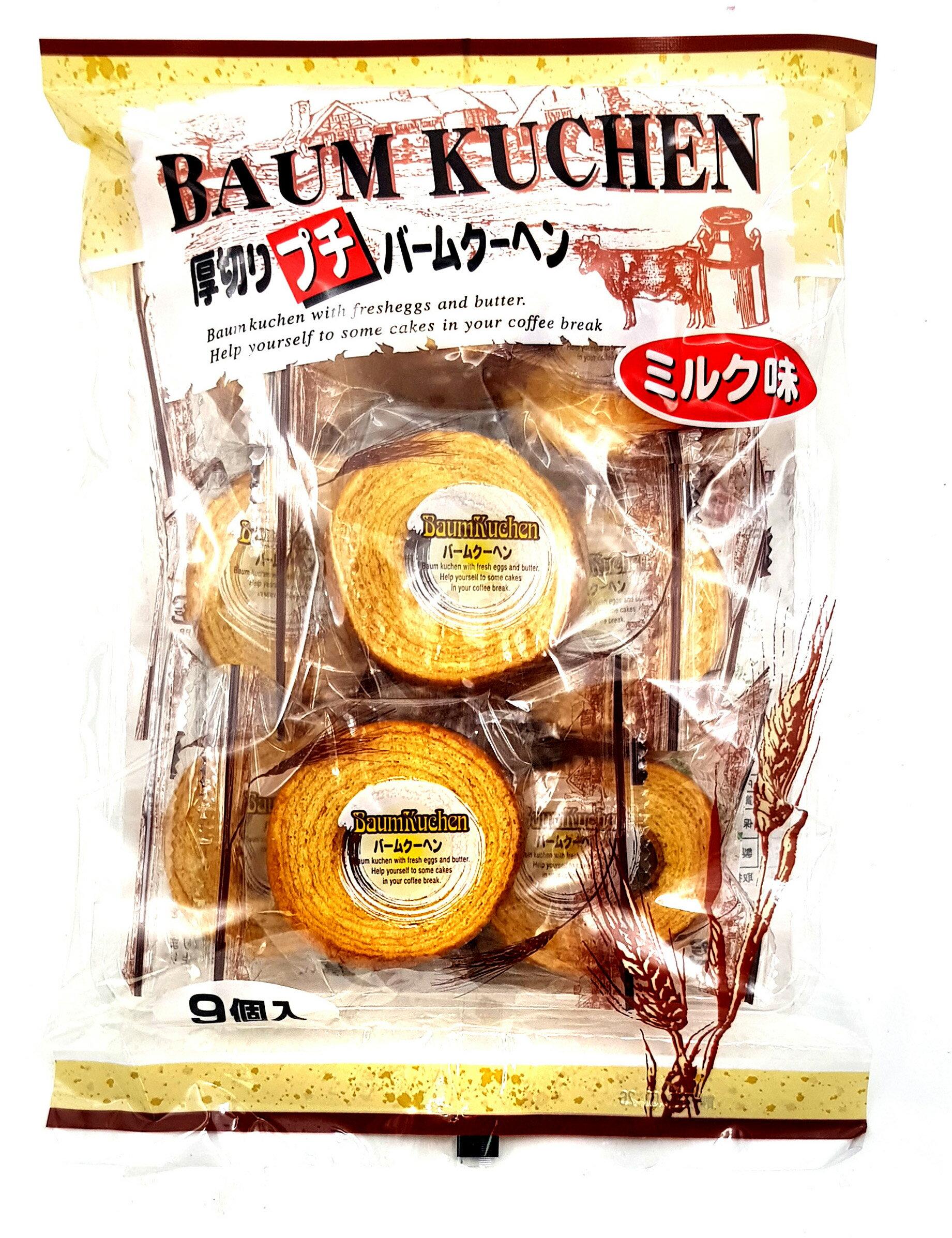 《Chara 微百貨》 日本 牧原 製菓 厚切 牛奶 迷你 年輪 蛋糕 9入 243g 團購 批發 1