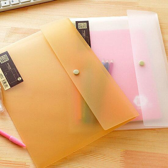 ♚MY COLOR♚橫式按扣文件袋 A4 檔案 資料 分類 收納 票據 學生 小資 辦公室 文具 防水【L189】