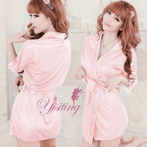 情趣睡衣 經典浪漫!柔緞和服睡袍﹝粉紅﹞ 性感睡衣 情趣用品