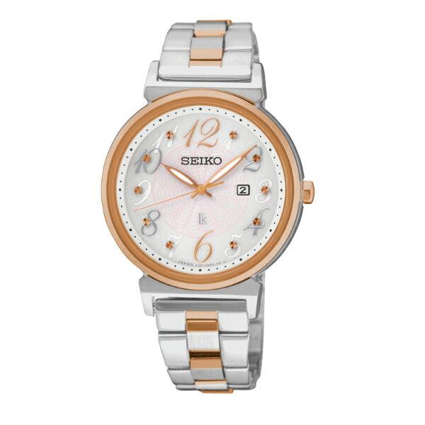 Seiko Lukia V137-0BW0KS(SUT260J1)雙色花樣年華太陽能腕錶/粉白面32mm