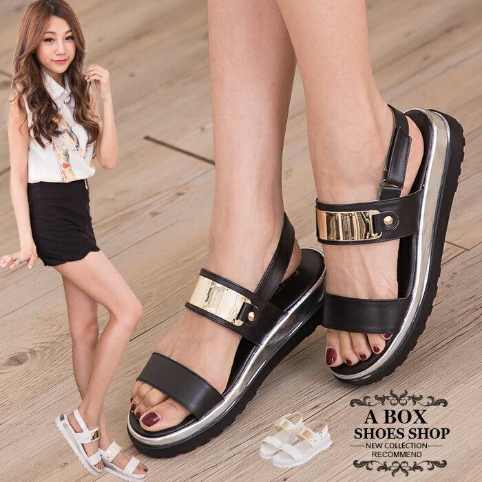 格子舖*【KP612】MIT台灣製 嚴選韓版流行 時尚金屬寬帶厚底楔型增高涼鞋 2色