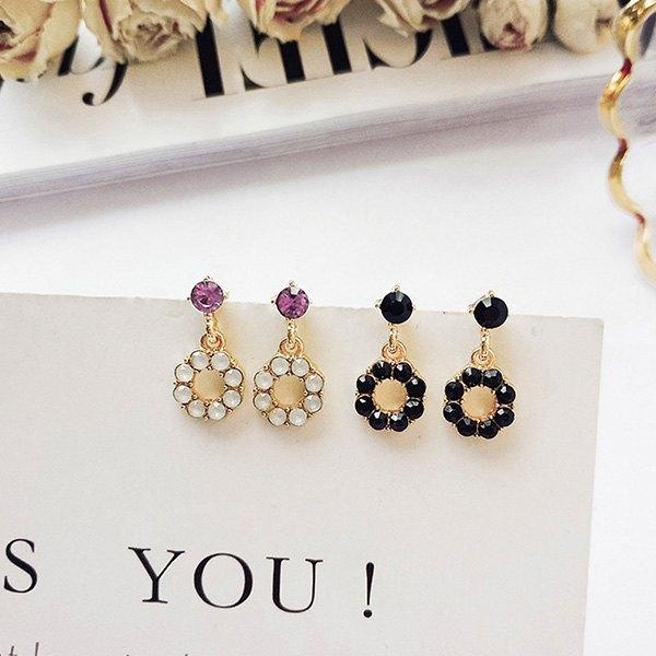 耳環彩色圓還鑲鑽圓形甜美氣質耳釘耳環【DD1805056】BOBI0524