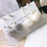 送女生聖誕交換禮物推薦聖誕禮物飾品到珍珠鑲嵌精緻毛球耳環(雪白/沈穩灰)(925銀)就在LAZY ANN推薦送女生聖誕交換禮物