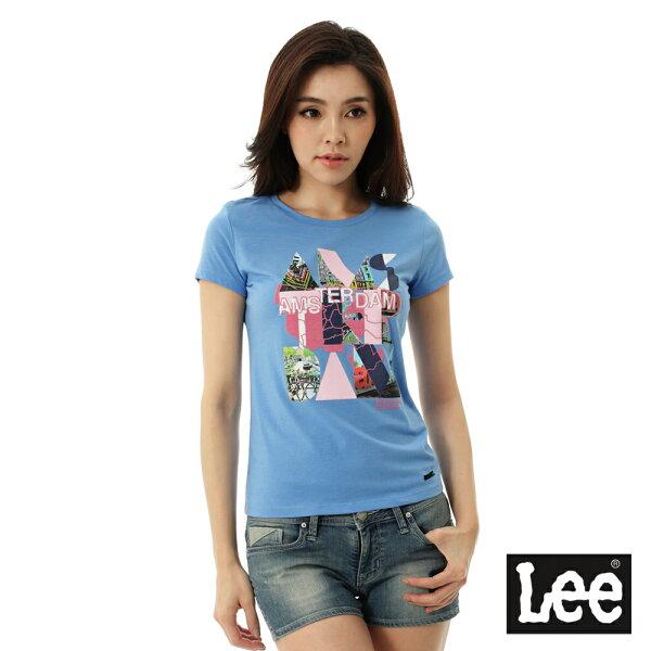 Lee Jeans tw:【精選上衣3.5折】Lee城市短袖T恤-女-藍【單筆消費滿1000元全會員結帳輸入序號『CNY100』↘折100