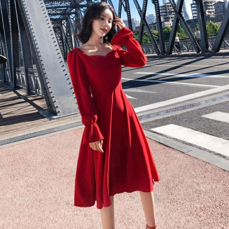 晚禮服 2020秋冬新款名媛甜美氣質優雅復古修身顯瘦連身裙紅色年會小禮服