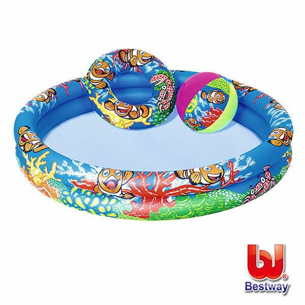 《Bestway》海洋小丑魚兩環充氣泳池組(69-13811)