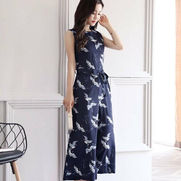 FINDSENSEG5韓國時尚夏季寬鬆高腰碎花闊腿褲休閒套裝連身褲