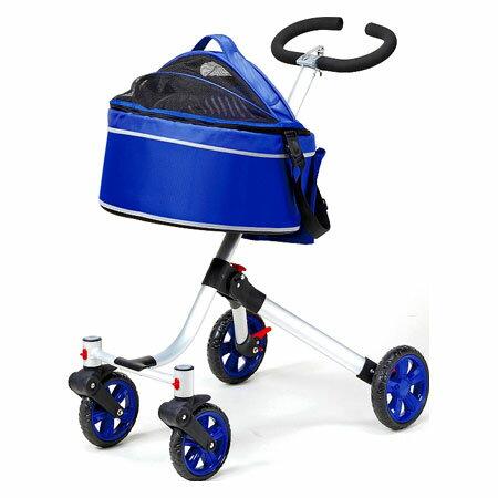 ayumi愛犬生活-寵物精品館:《日本MARUKAN》頂級推車-高低可調2用寵物推車-藍DP-477