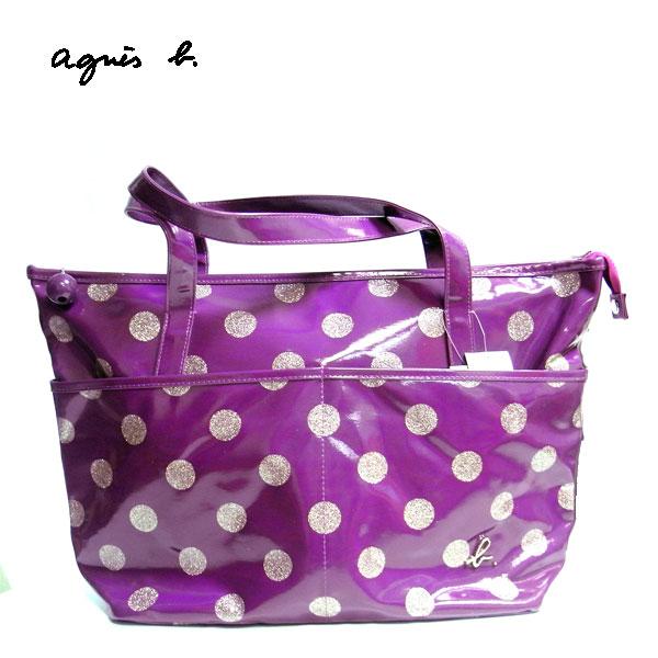 【agnes b.】點點小B漆皮托特包-紫色 日本製正品