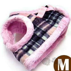 《日本進口》格子款保暖胸背-粉紅格子組(附拉繩)M