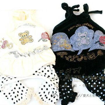 【日本寵物衣服】PINK GOLD天鵝絨水鑽連身裙褲 - 限時優惠好康折扣