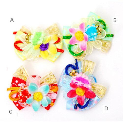 《日本進口寵物頭花》中國結點點彩帶款-4色