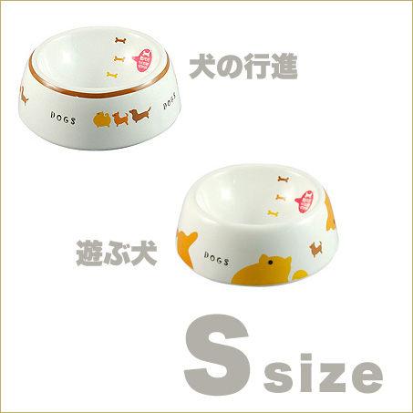 《 日本Marukan 》 犬用刻度瓷碗寵物碗2款-犬行進.犬遊戲[S]